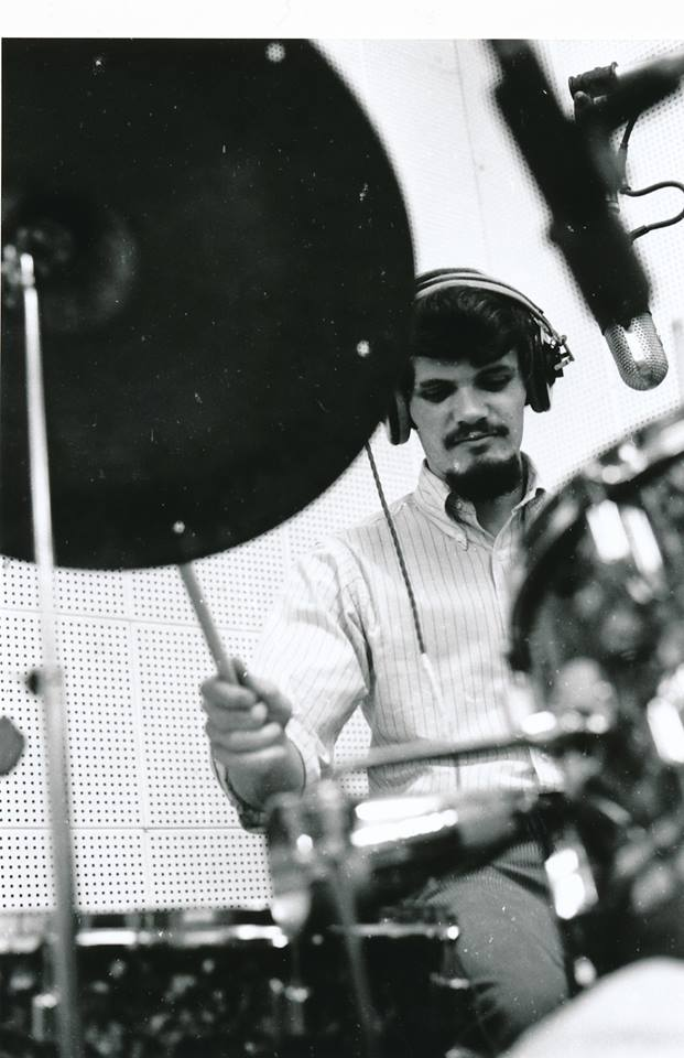 Ross Turney on drums in the recording studio