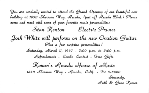 The electric prunes web page above invitation to the opening of komers reseda house of music stopboris Images